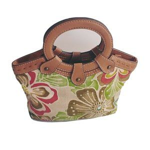 Fossil Handbag Purse Bag Floral Canvas Leather
